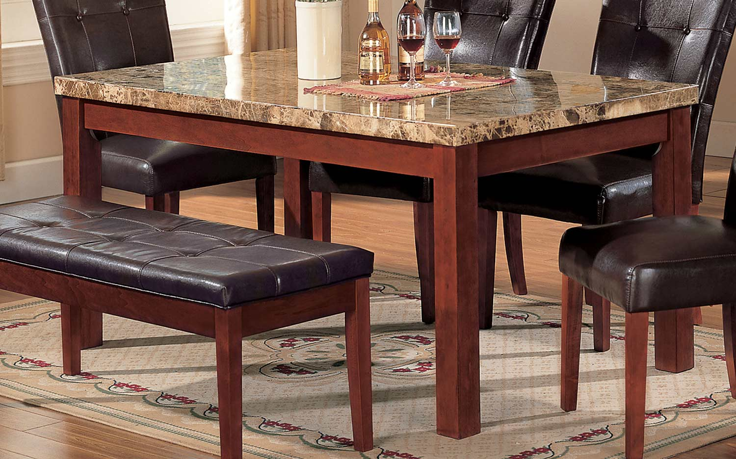 Acme Bologna Dining Table - Brown Marble/Brown Cherry