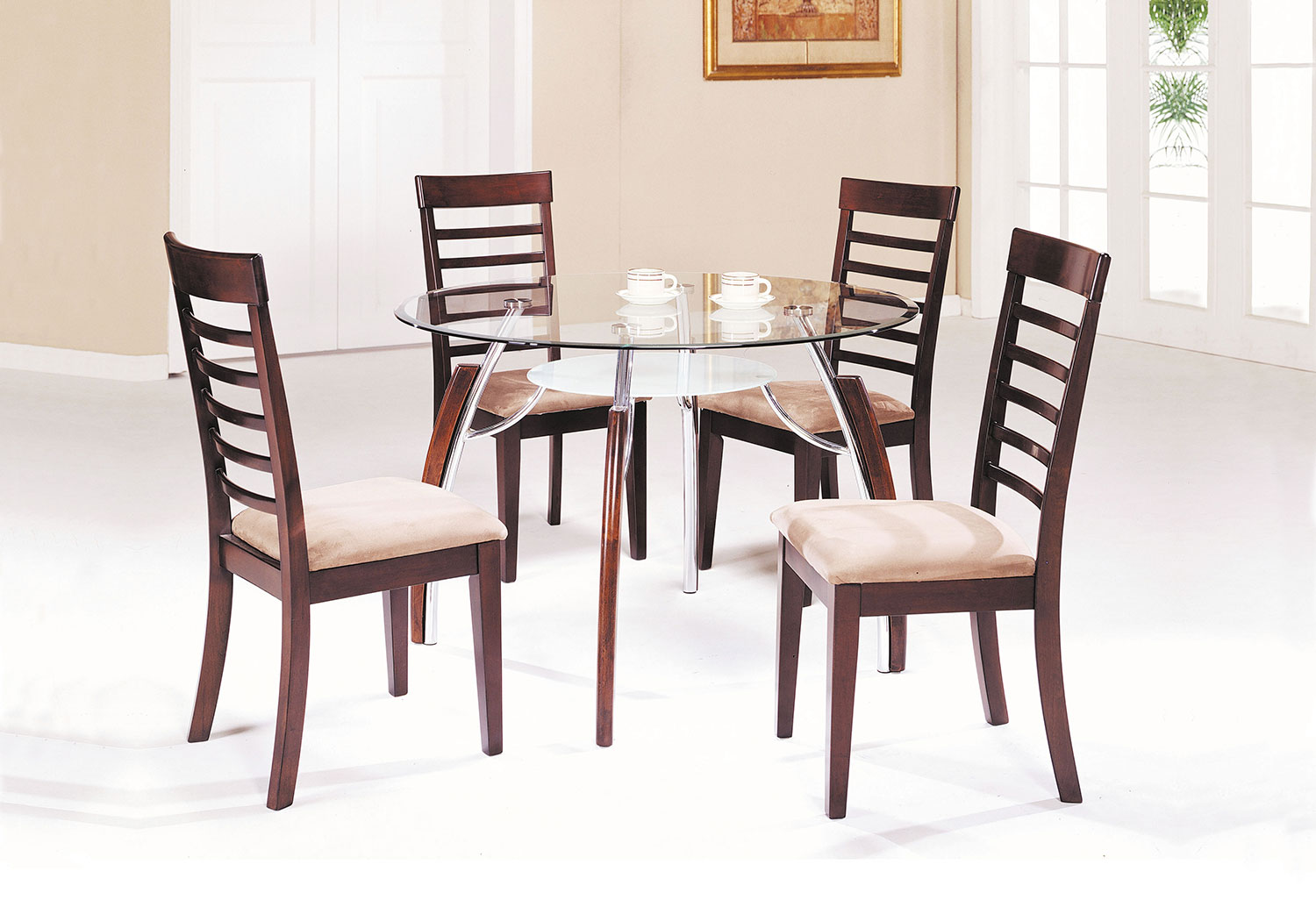 Acme Martini Dining Set - Brown Cherry/Chrome