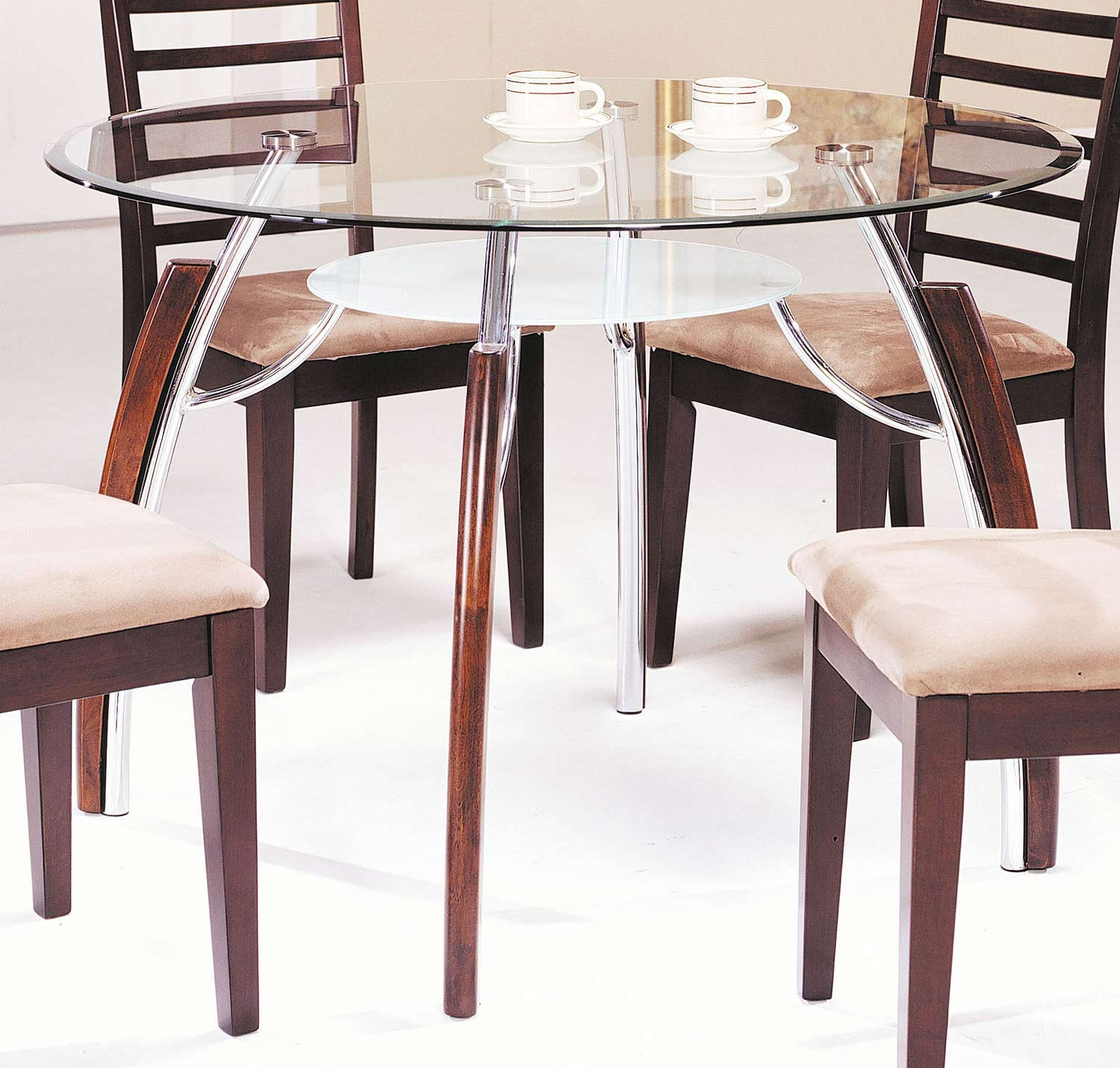 Acme Martini Dining Table - Brown Cherry/Chrome