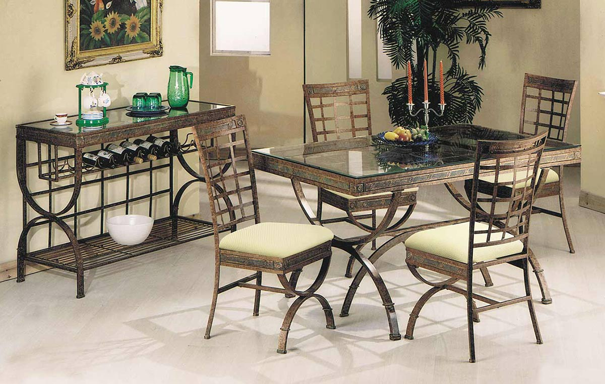 Acme Egyptian Dining Set - Bronze Patina/Clear Glass