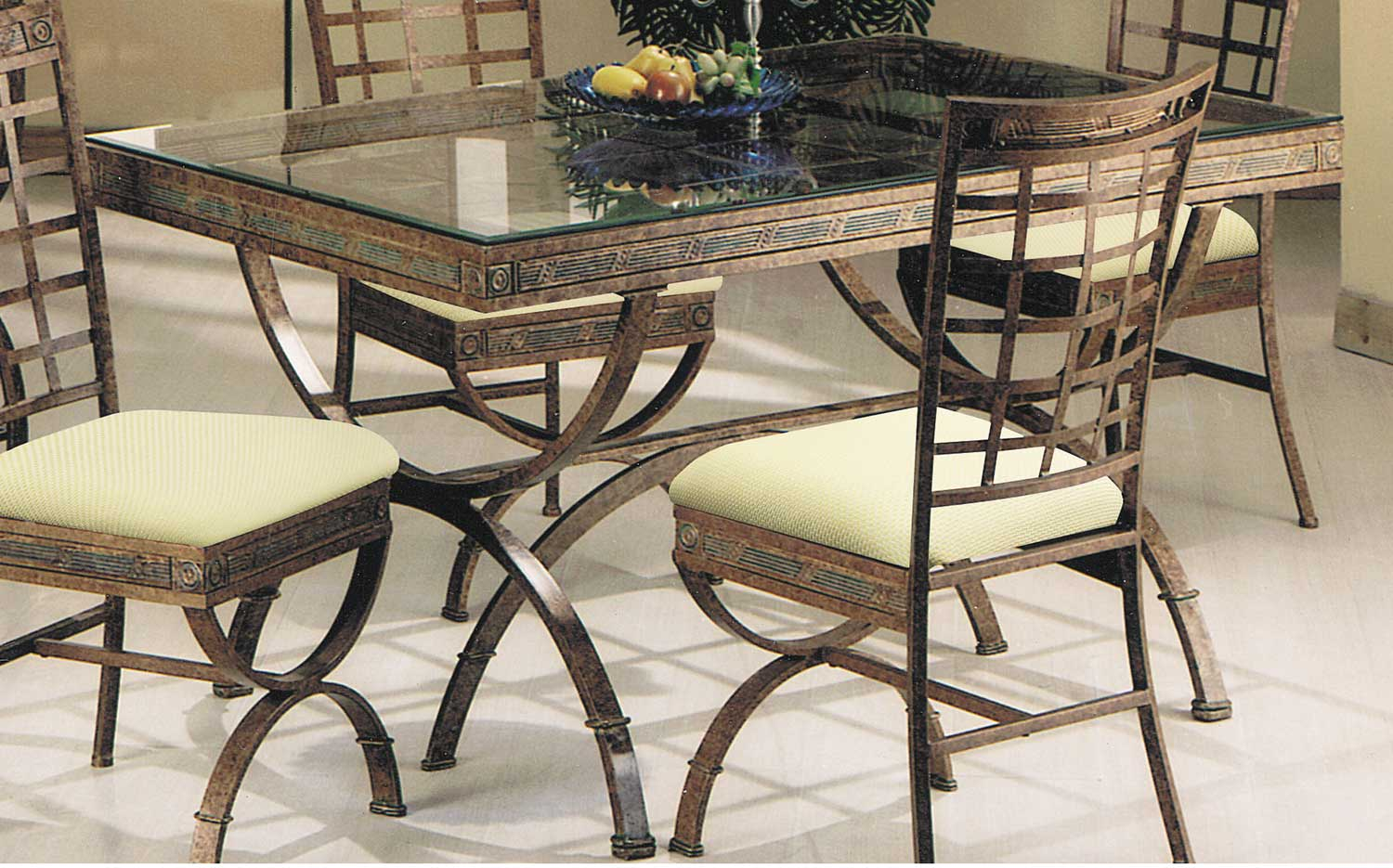 Acme Egyptian Dining Table - Bronze Patina/Clear Glass