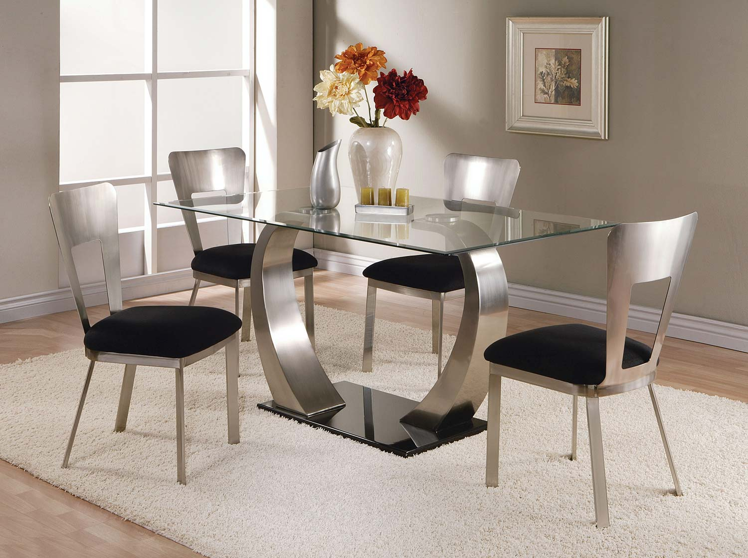 Acme Camille Dining Set - Satin Plated/Black