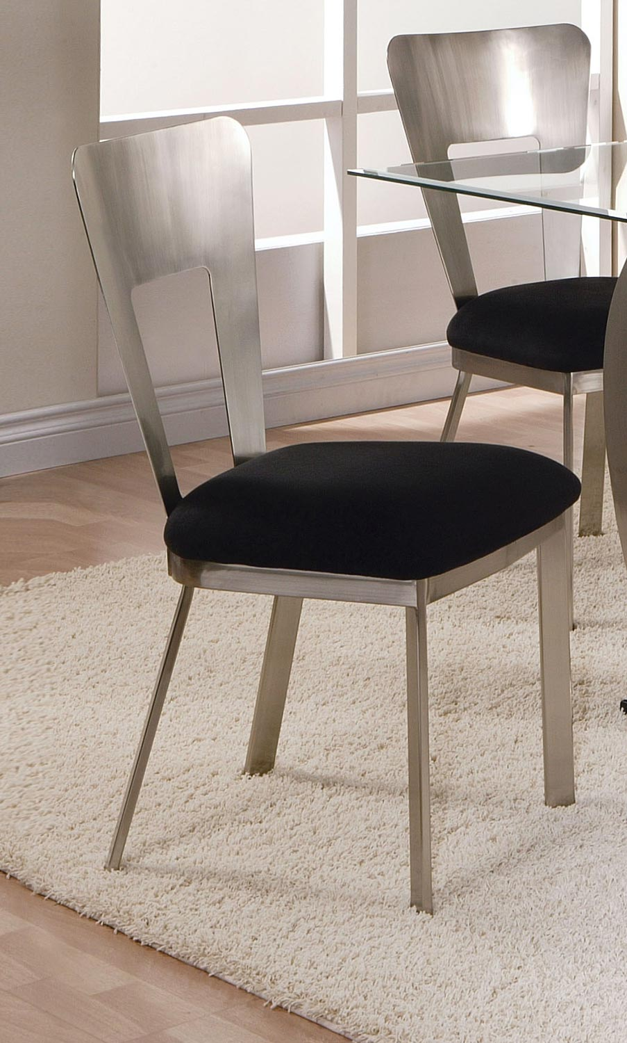Acme Camille Side Chair - Black Mfb/Satin Plated
