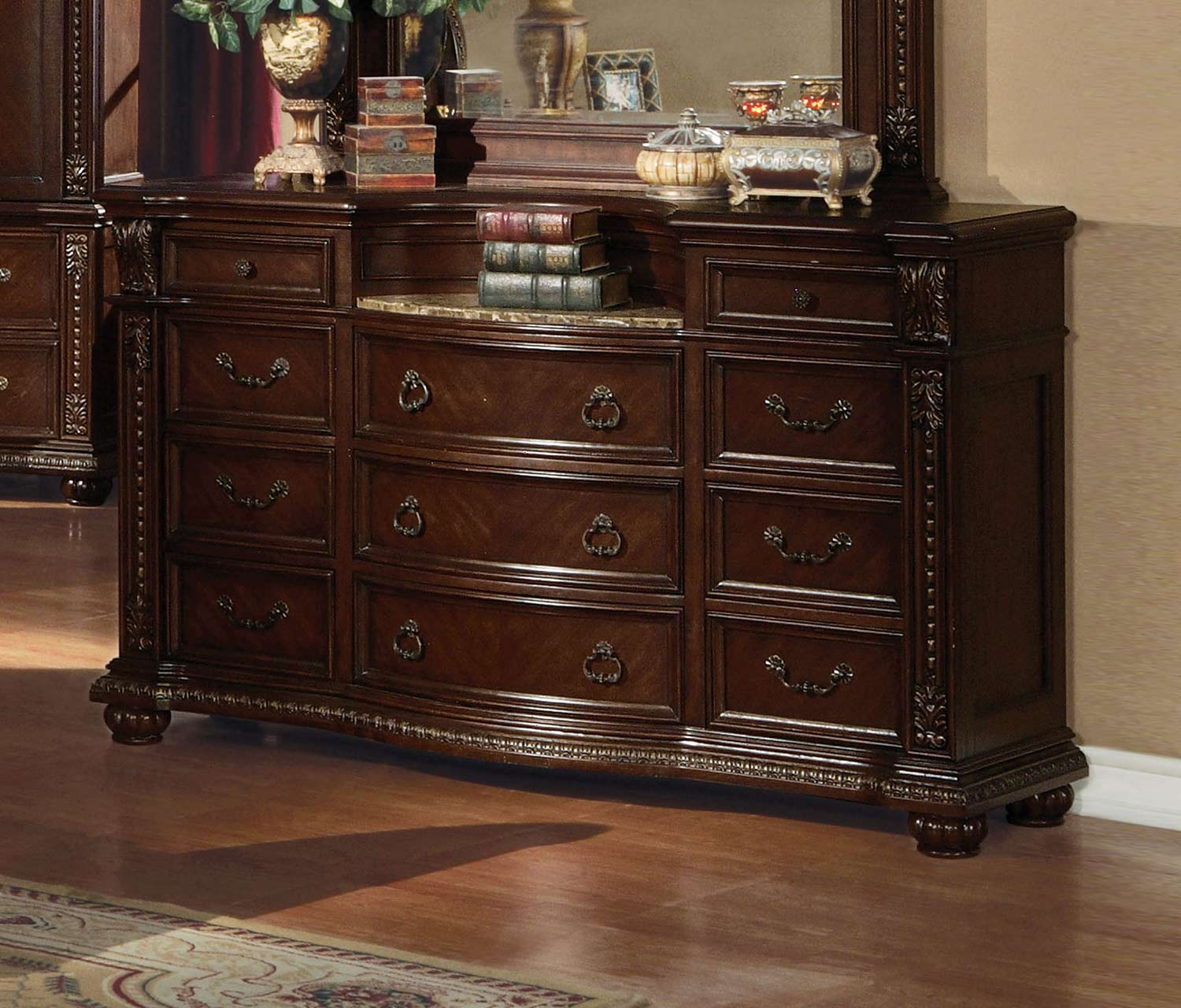 Acme Anondale Dresser with Marble Top - Cherry