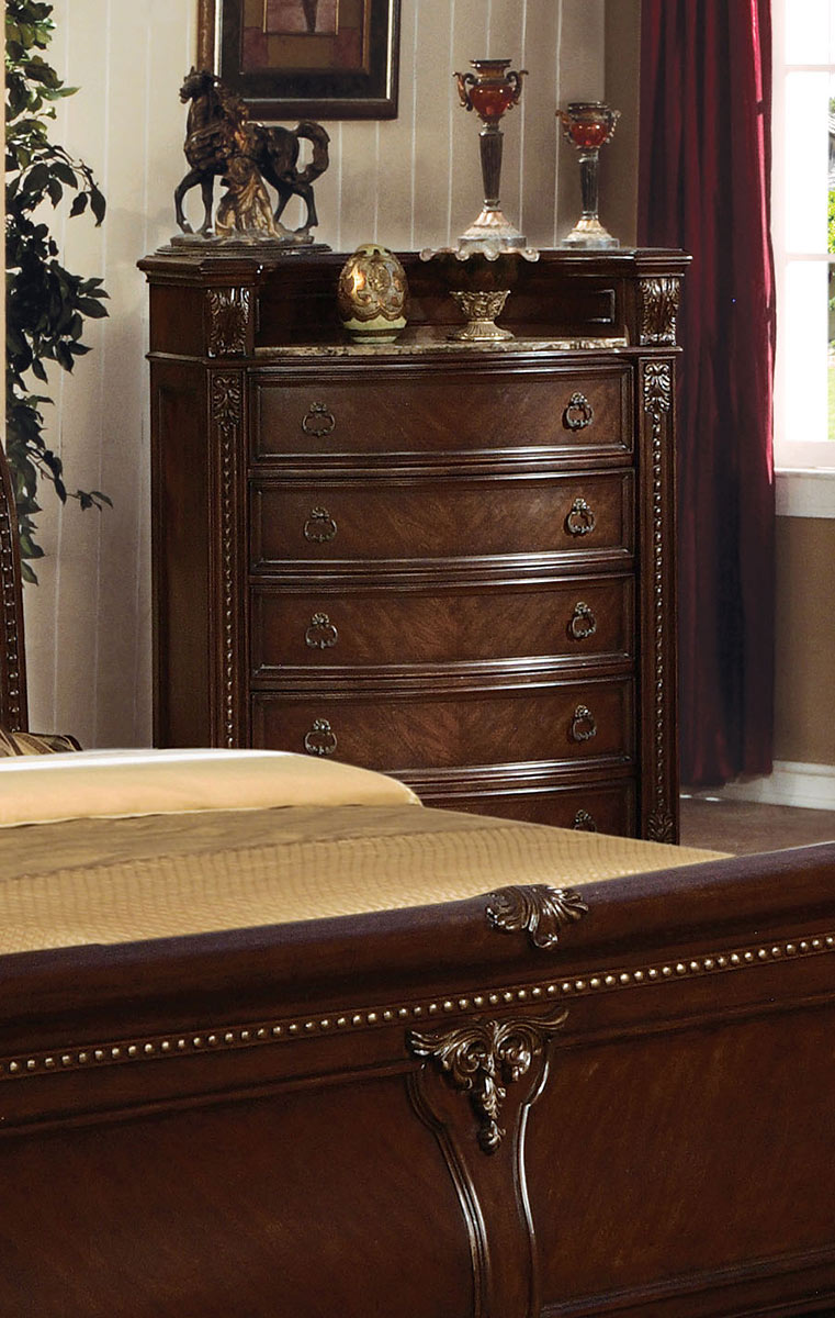 Acme Anondale Chest with Marble Top - Cherry
