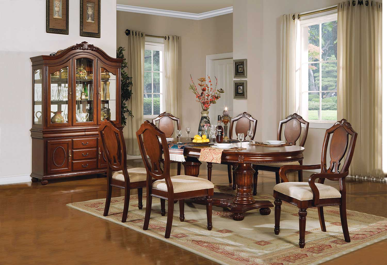 Acme Classique Dining Set with Double Pedestal - Cherry