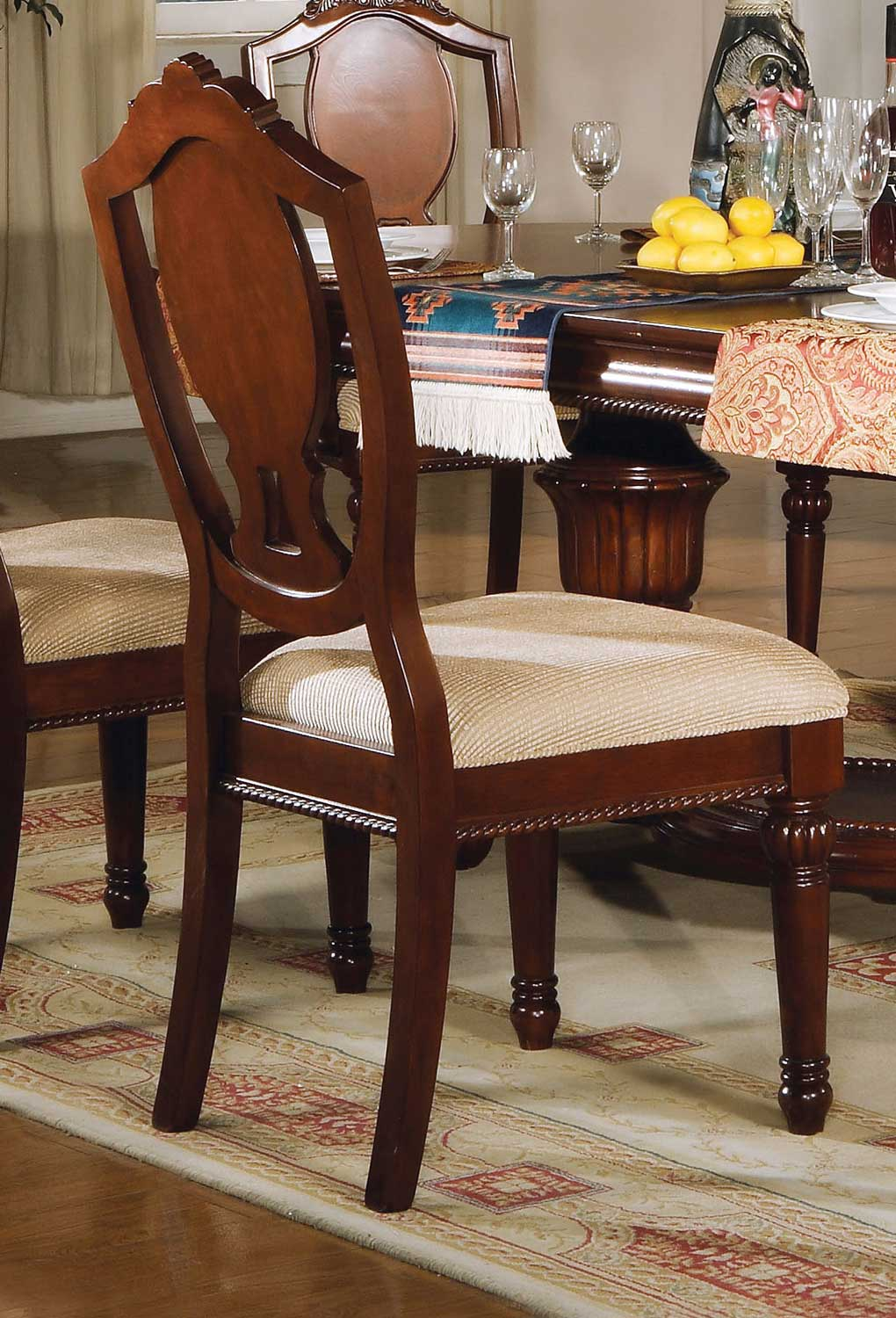 Acme Classique Side Chair - Fabric/Cherry
