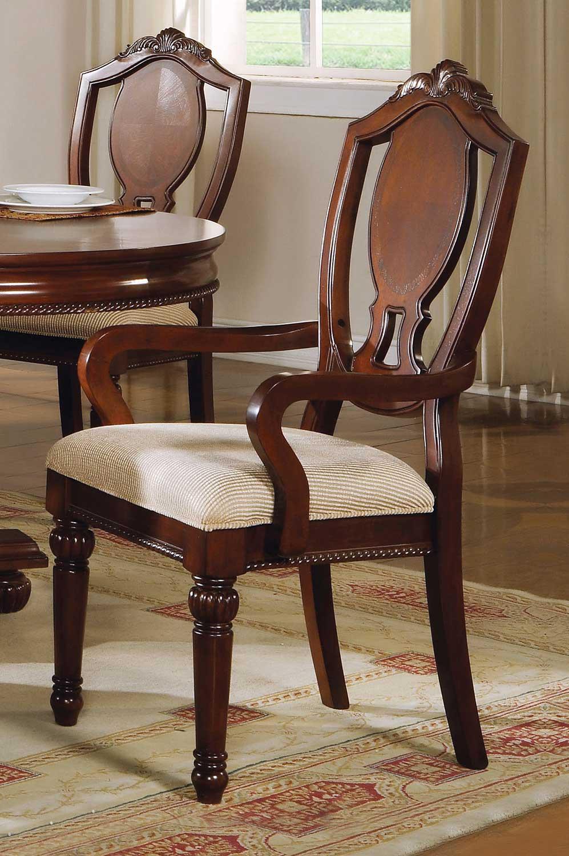 Acme Classique Arm Chair - Fabric/Cherry