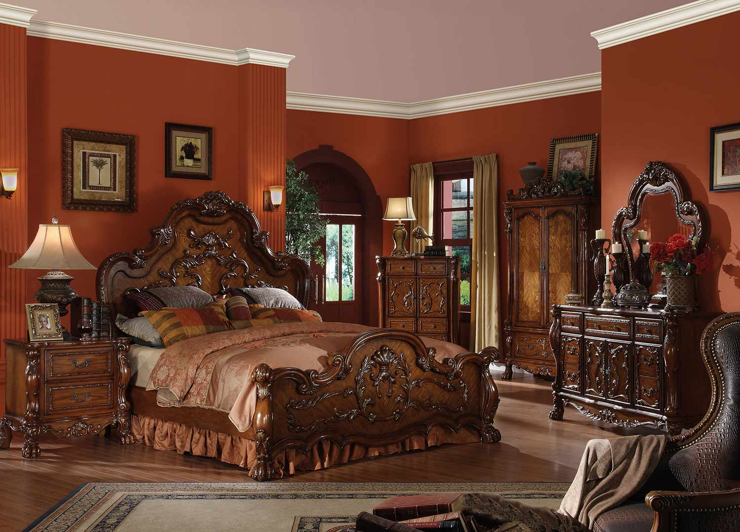 Acme Dresden Bedroom Set (Wooden HB) - Cherry Oak