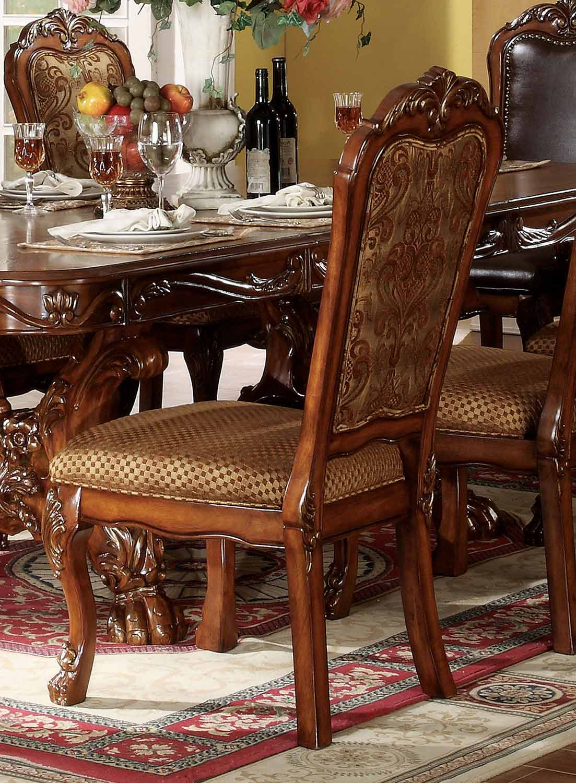 Acme Dresden Side Chair - Fabric/Cherry Oak