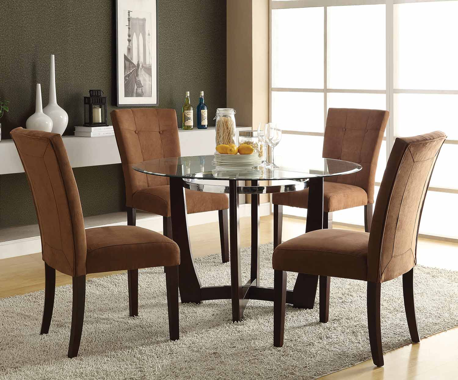 Acme Baldwin Dining Set - Chocolate/Walnut