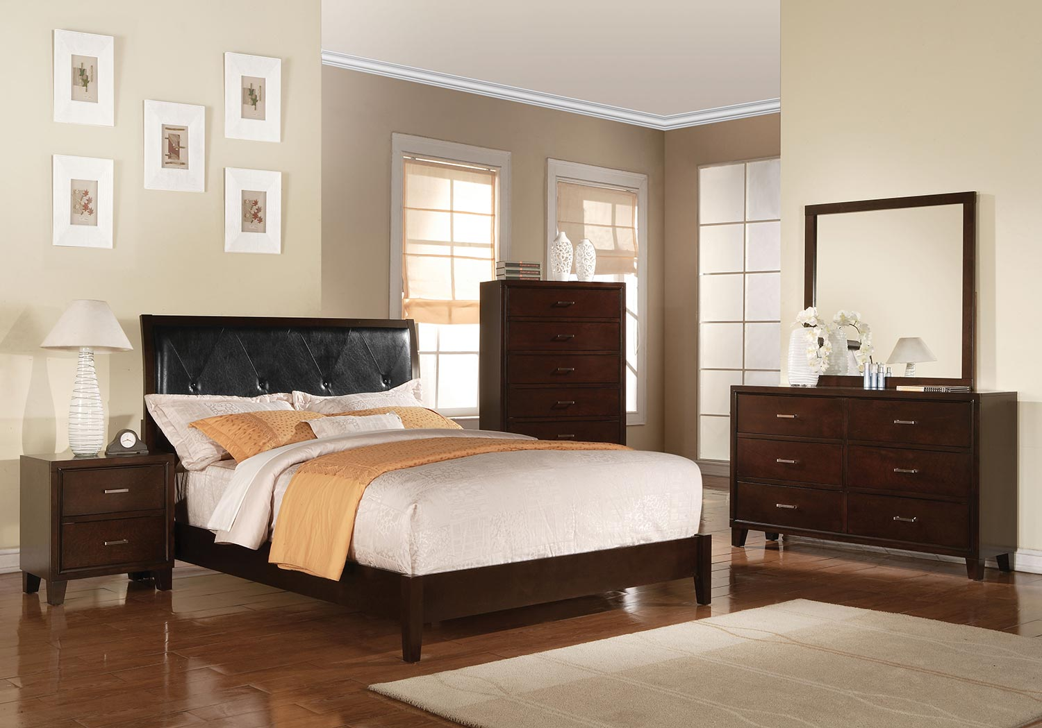 Acme Tyler Bedroom Set (Padded HB) - Black Vinyl/Cappuccino