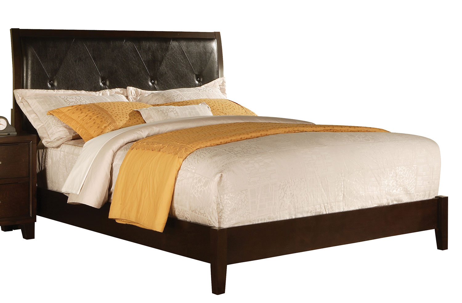 Acme Tyler Bed (Padded HB) - Black Vinyl/Cappuccino