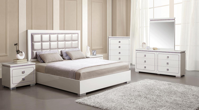 Acme Valentina Bedroom Set - Pearl Vinyl/White High Gloss