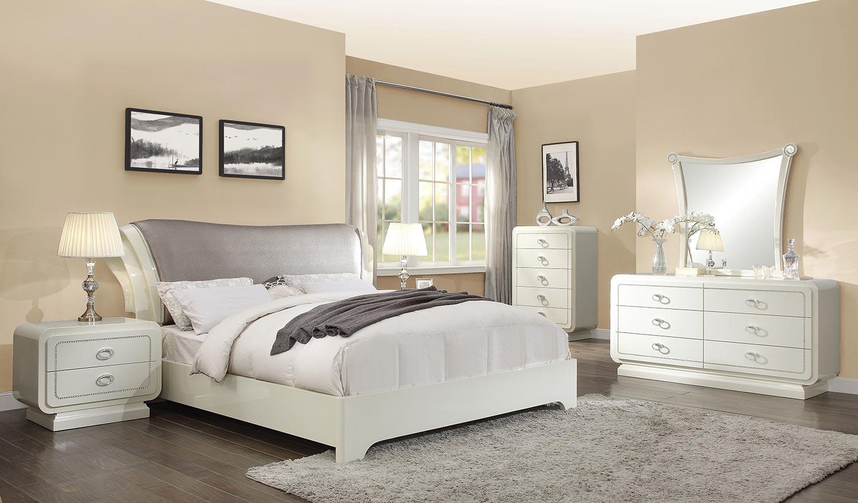 Acme Bellagio Bedroom Set - Ivory High Gloss