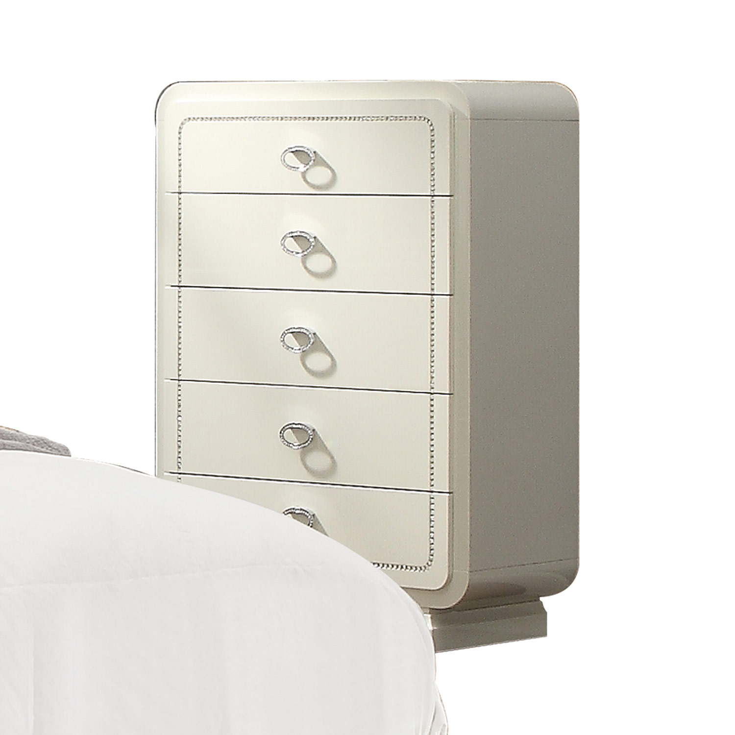 Acme Bellagio Chest - Ivory High Gloss