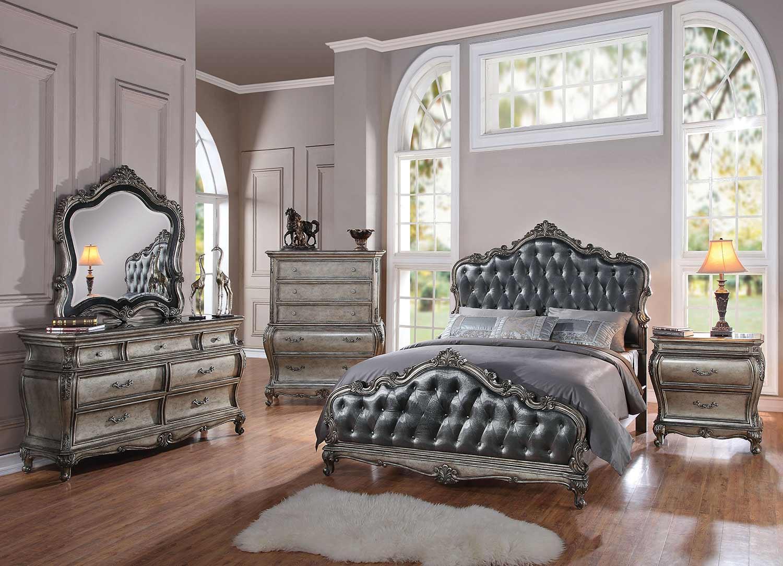 Acme Chantelle Bedroom Set - Silver Gray Silk/Antique Platinum