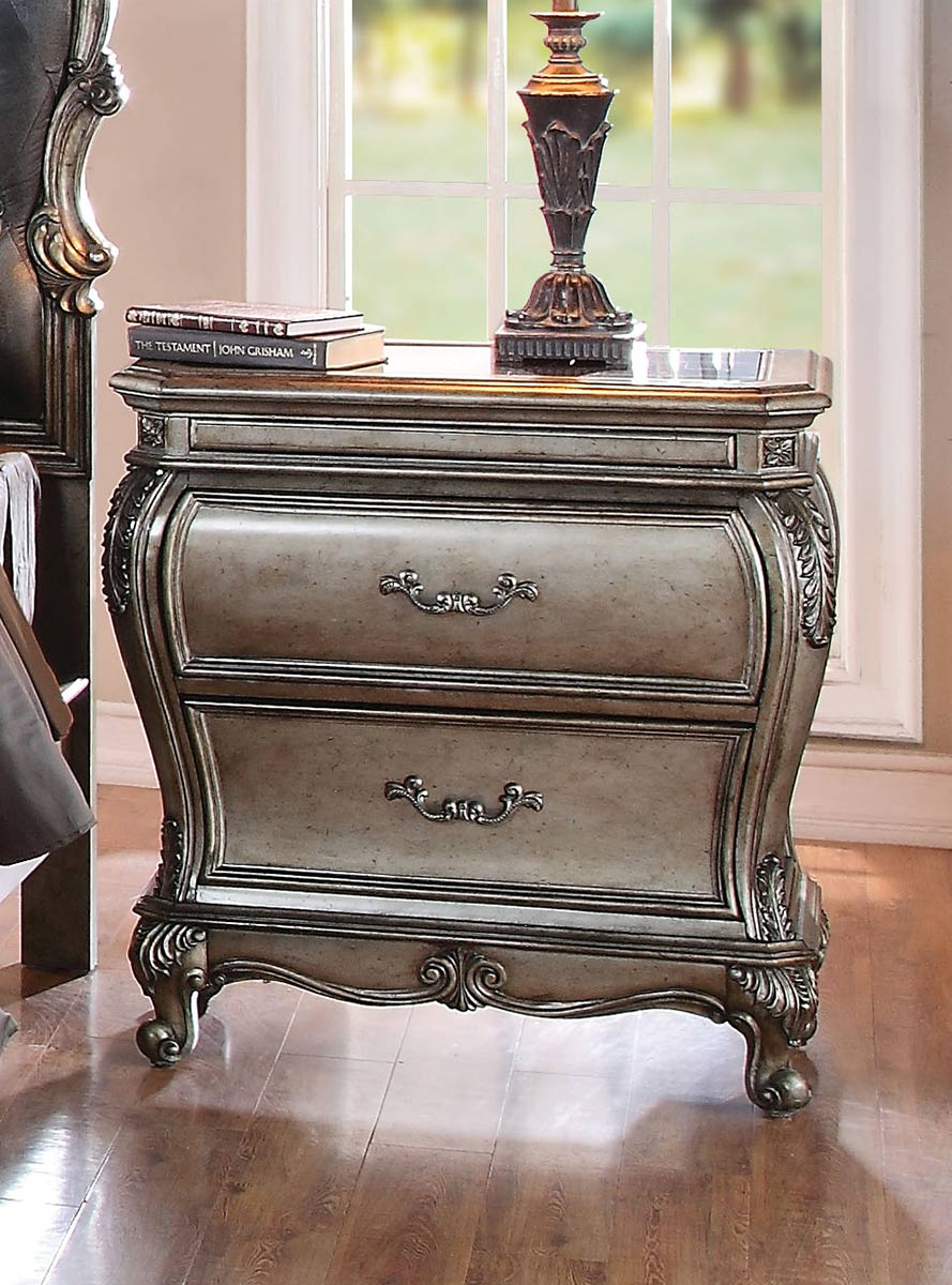 Acme Chantelle Nightstand with Granite Top - Antique Platinum
