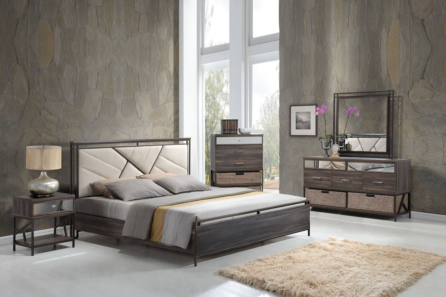 Acme Adrianna Bedroom Set - Cream Cotton Fabric/Walnut