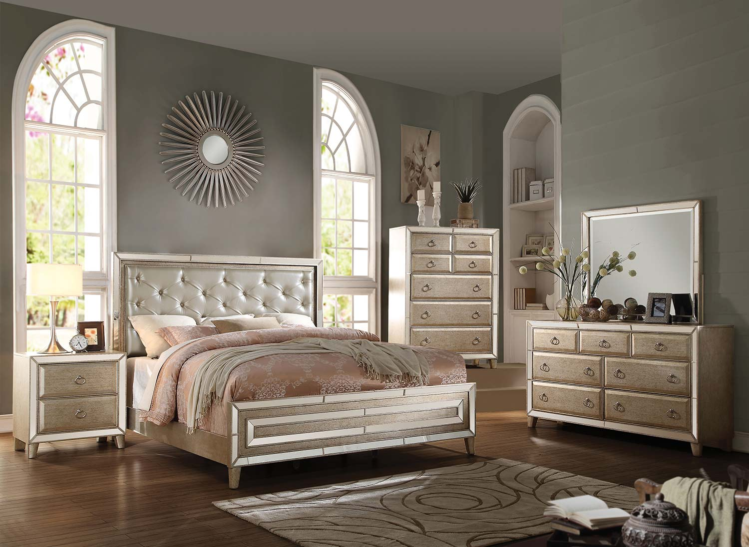 Acme Voeville Bedroom Set - Matte Gold Vinyl/Antique Gold