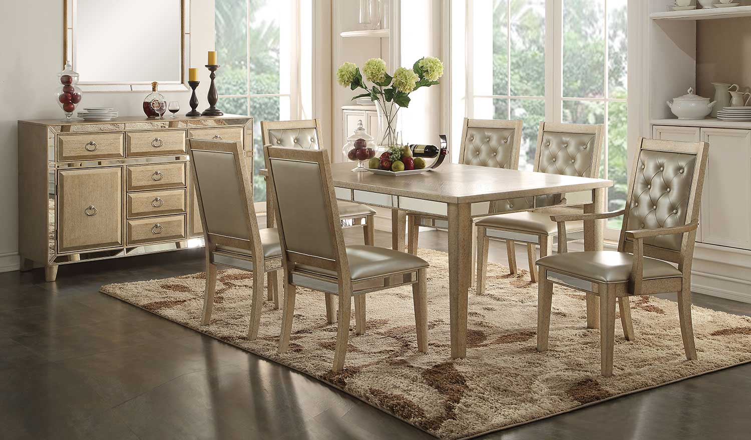 Acme Voeville Dining Set - Antique Gold