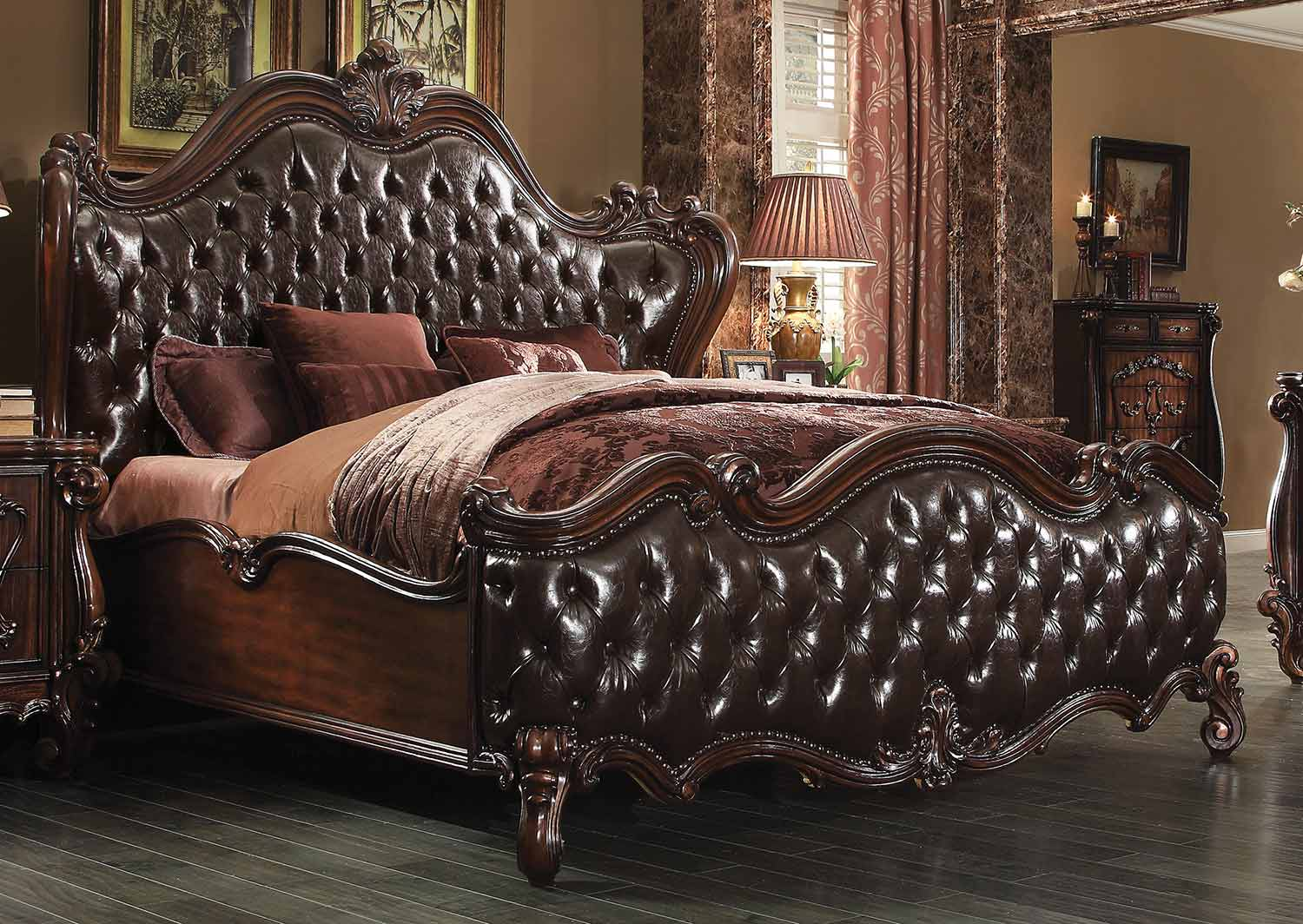 Acme Versailles Bed - 2-Tone Dark Brown Vinyl/Cherry Oak