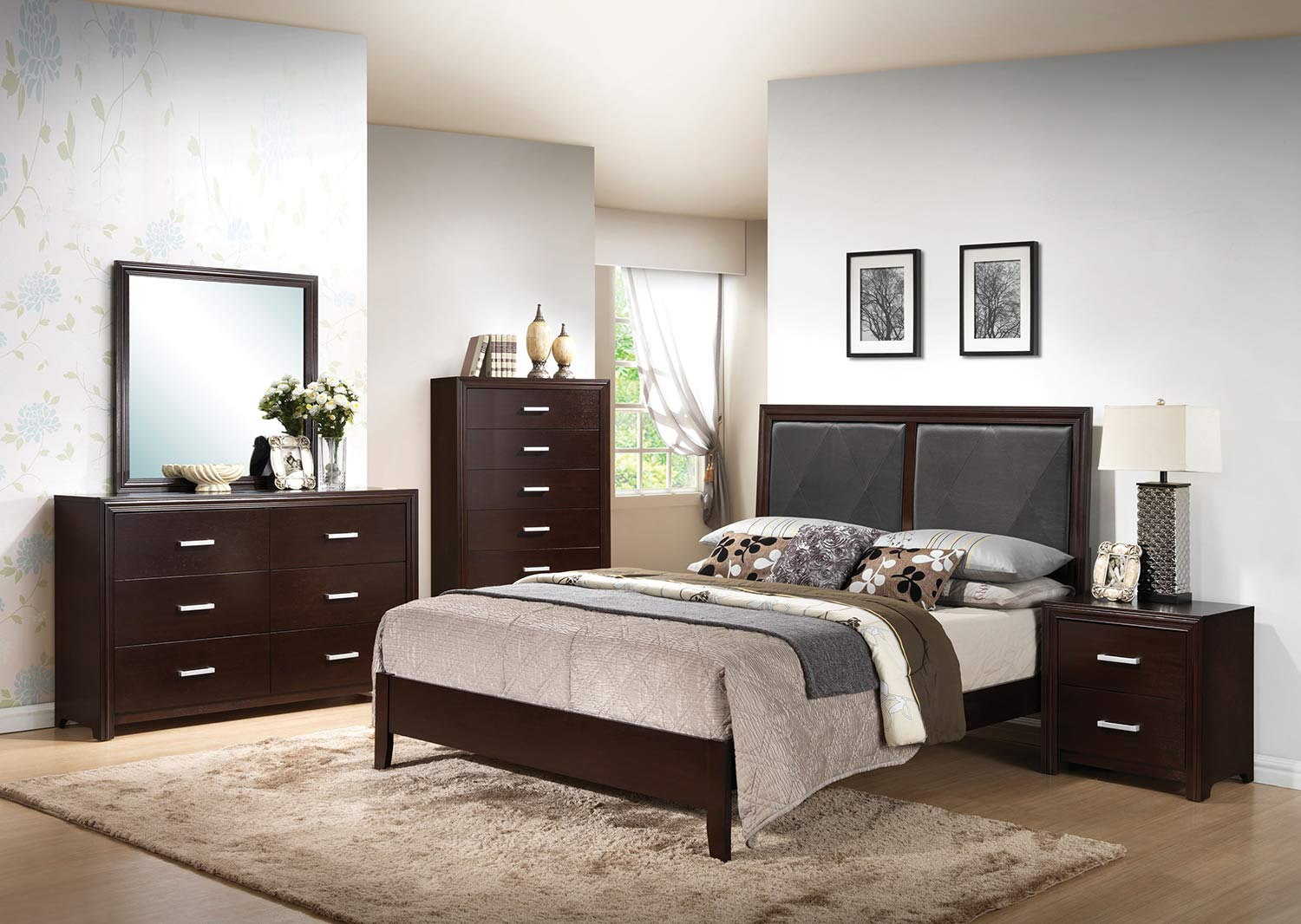 Acme Ajay Bedroom Set - Black Vinyl/Espresso