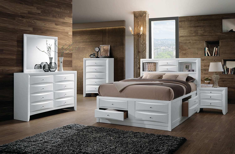 Acme Ireland Bedroom Set with Storage - White
