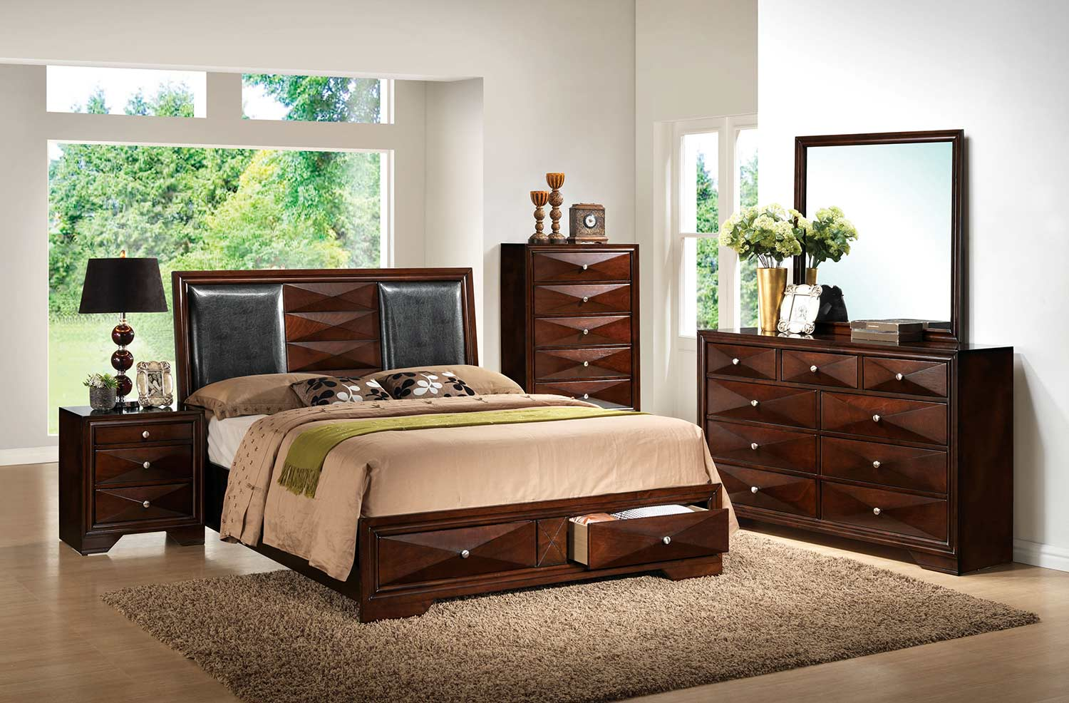 Acme Windsor Bedroom Set with Storage - Black Vinyl/Merlot