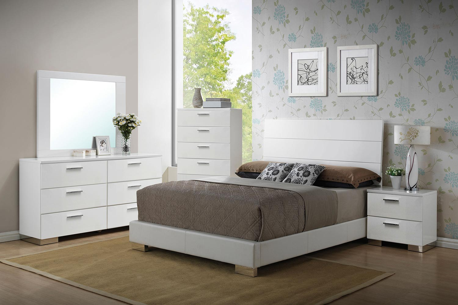 Acme Lorimar Bedroom Set - White Vinyl/Chrome Leg