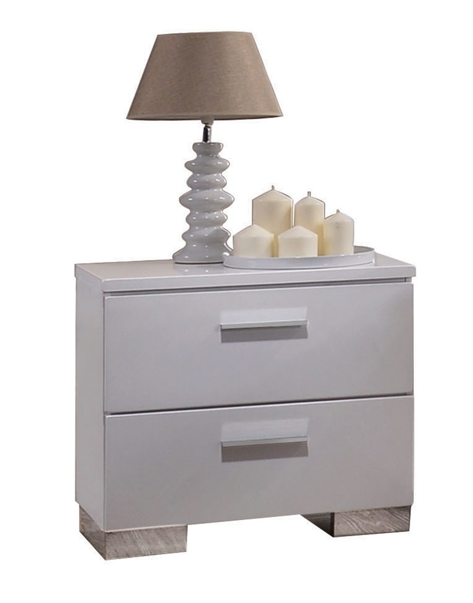 Acme Lorimar Nightstand - White/Chrome Leg