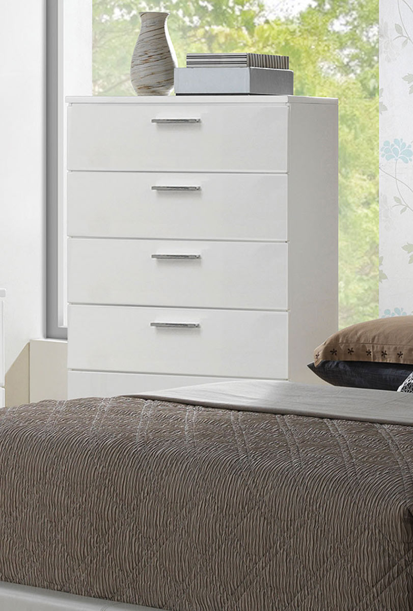 Acme Lorimar Chest - White/Chrome Leg