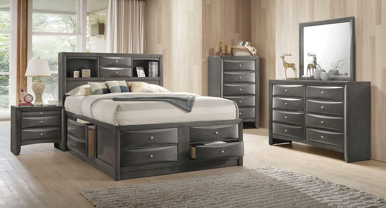 Acme Ireland Bedroom Set with Storage - Gray Oak