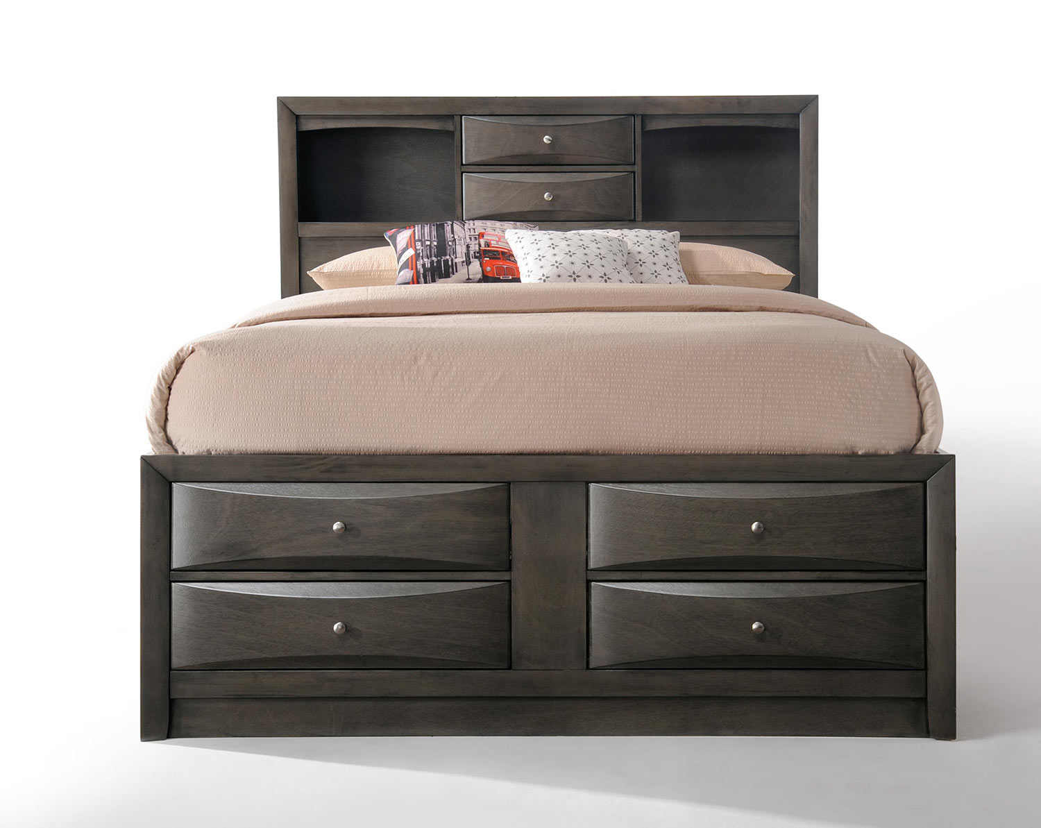 Acme Ireland Bed With Storage Gray Oak 22700q Bed At