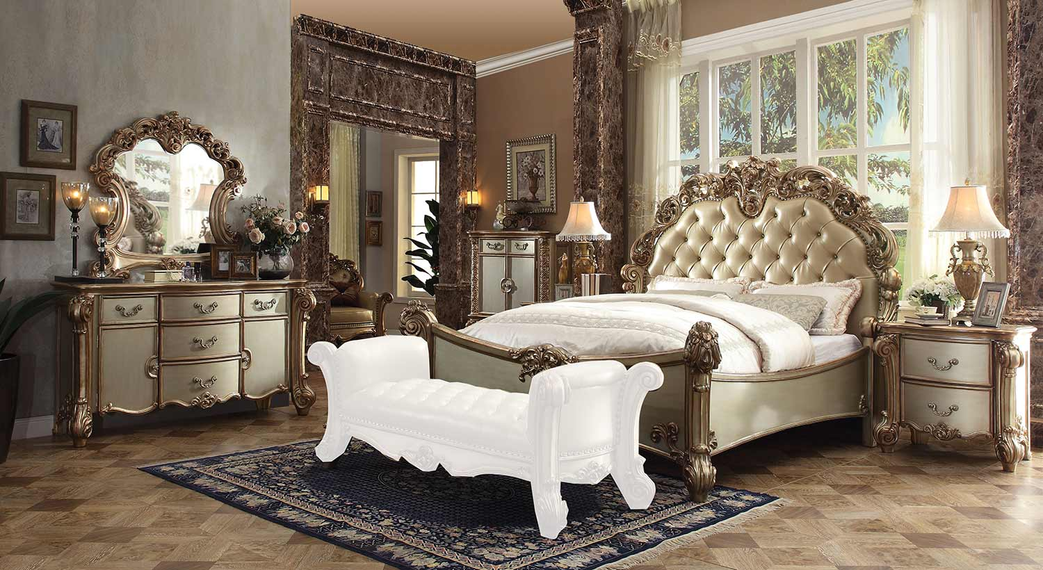 Acme Vendome Bedroom Set - Bone Vinyl/Gold Patina
