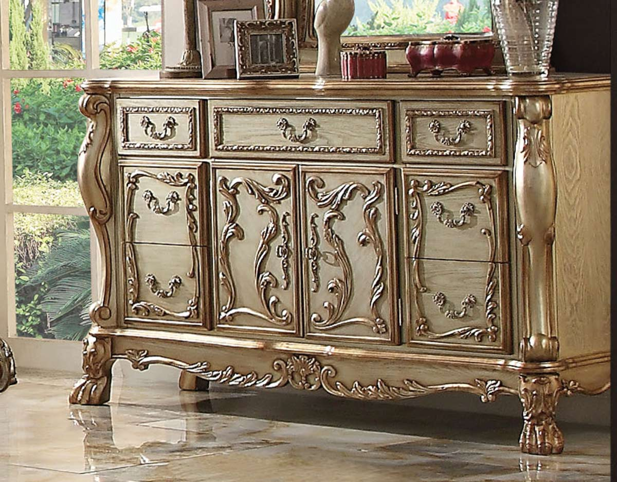 Acme Dresden Dresser - Gold Patina/Bone