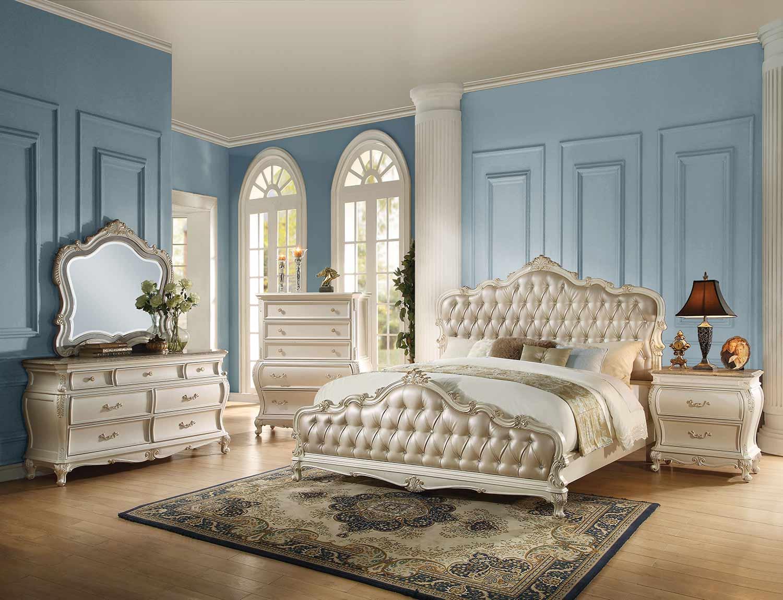Acme Chantelle Bedroom Set - Rose Gold Vinyl/Pearl White