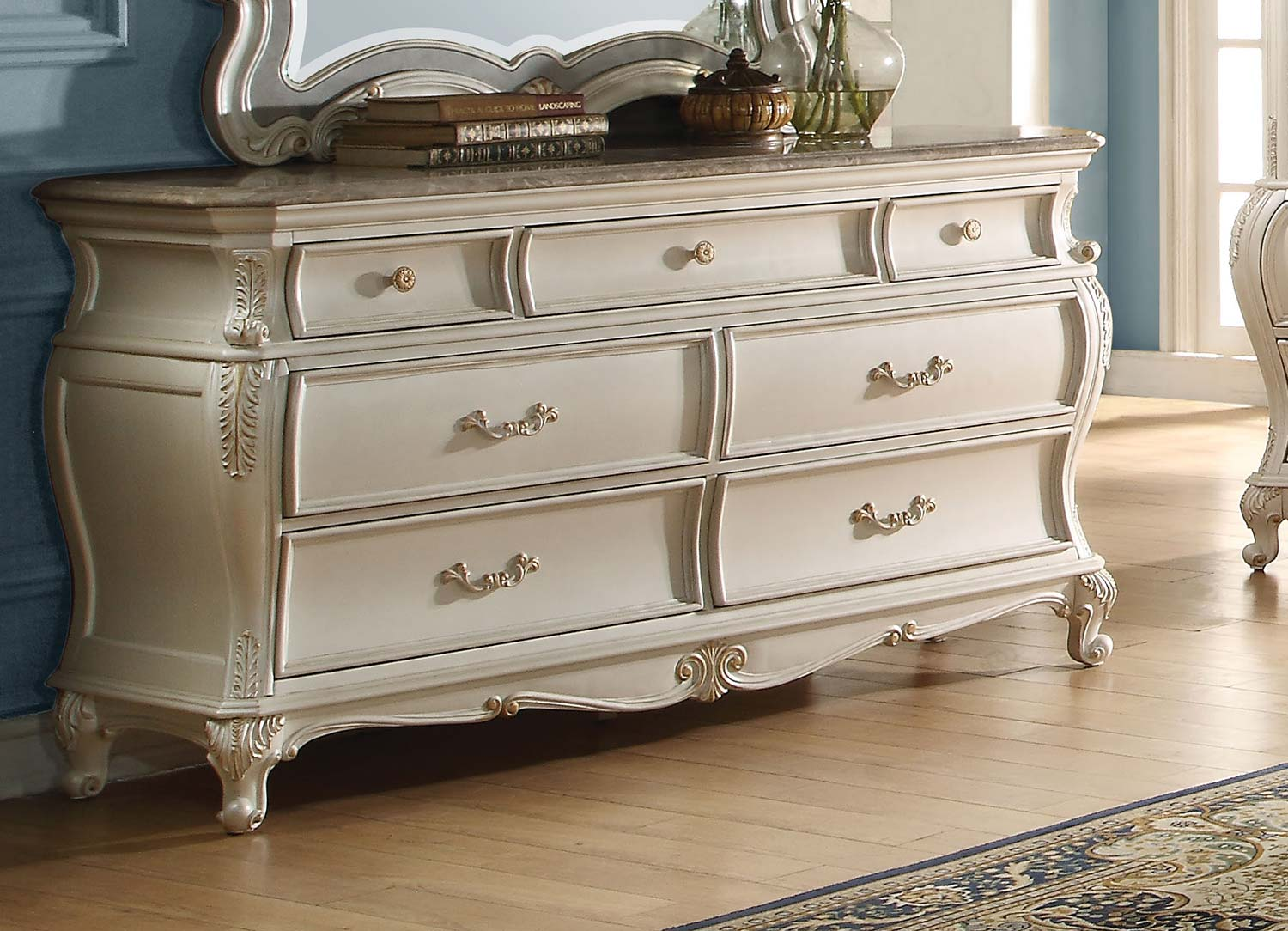Acme Chantelle Dresser with Granite Top - Pearl White