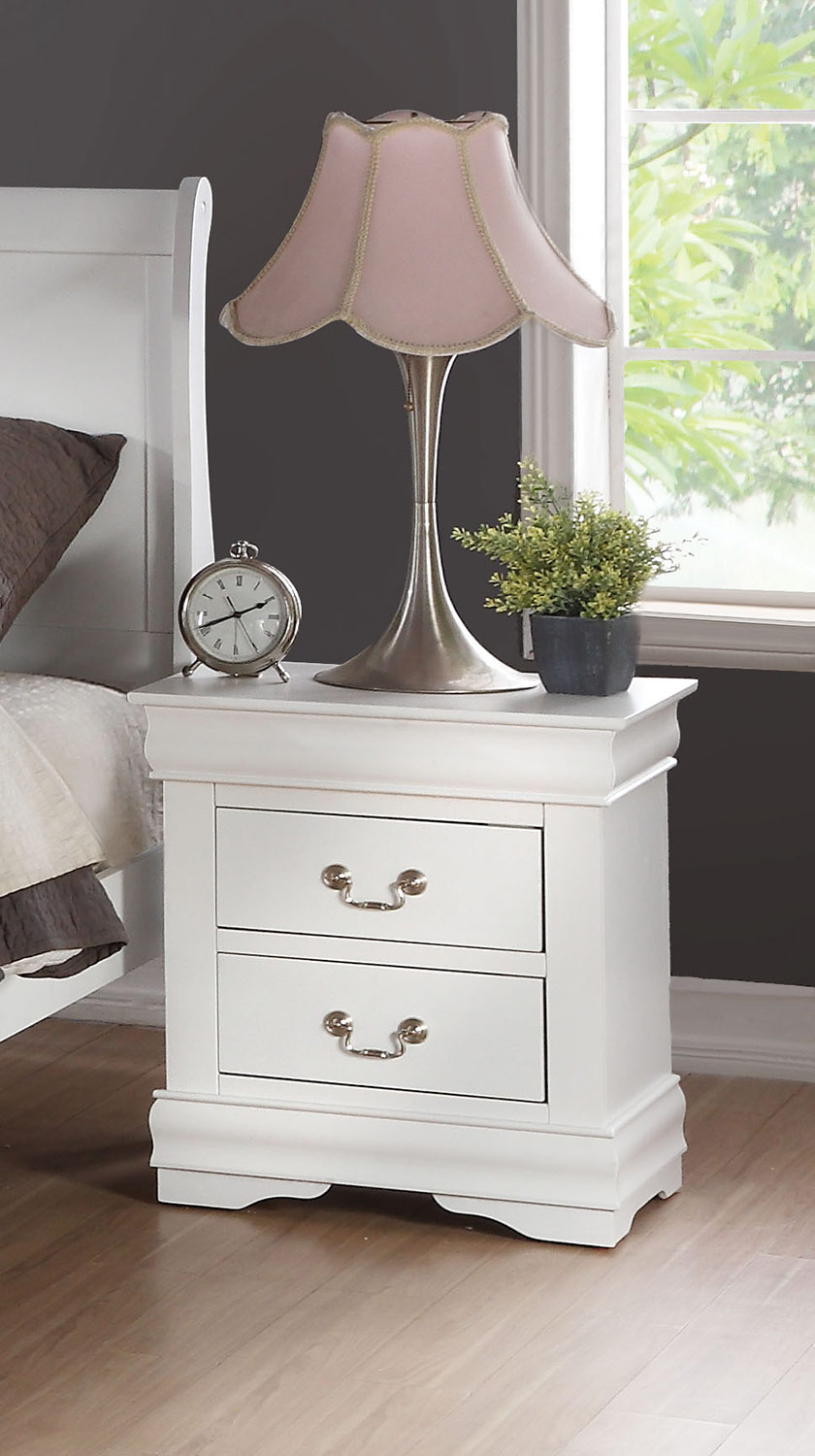 Acme Louis Philippe Nightstand - White