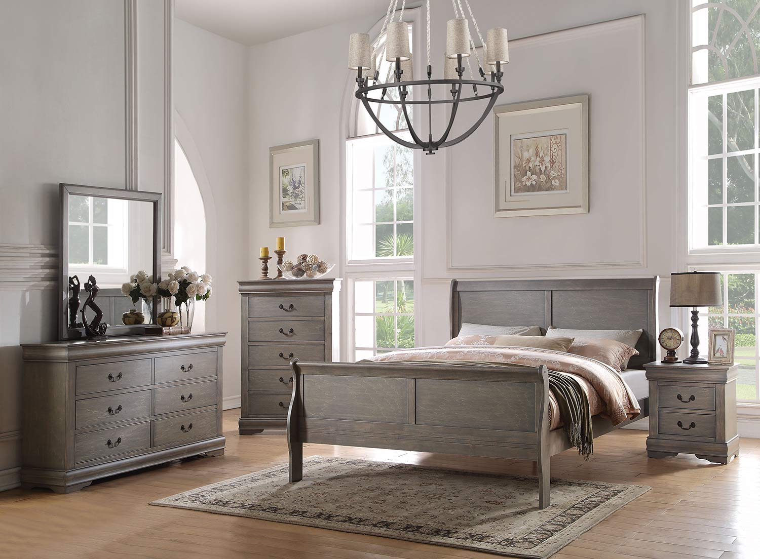 Acme Louis Philippe Bedroom Set - Antique Gray