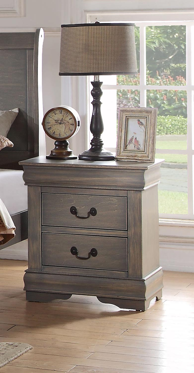 Acme Louis Philippe Nightstand - Antique Gray