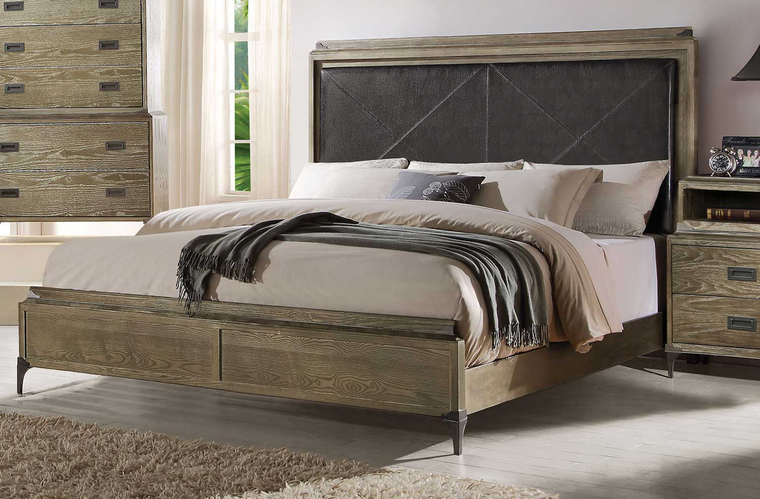 Acme Athouman Panel Bed - Vinyl/Weathered Oak