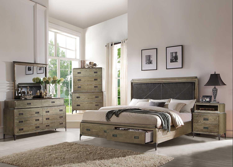 Acme Athouman Bedroom Set with Storage - Vinyl/Weathered Oak