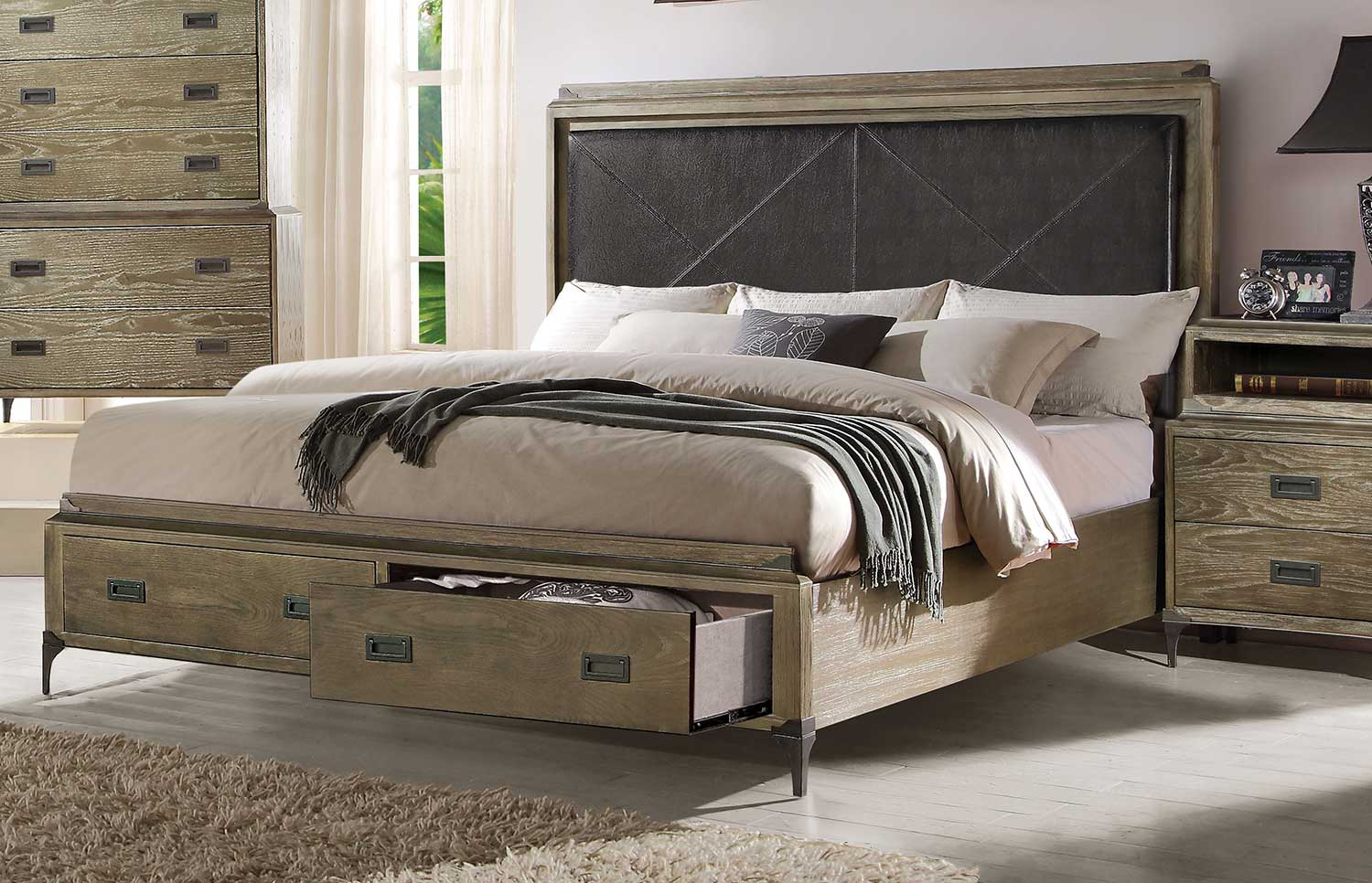 Acme Athouman Bed with Storage - Vinyl/Weathered Oak
