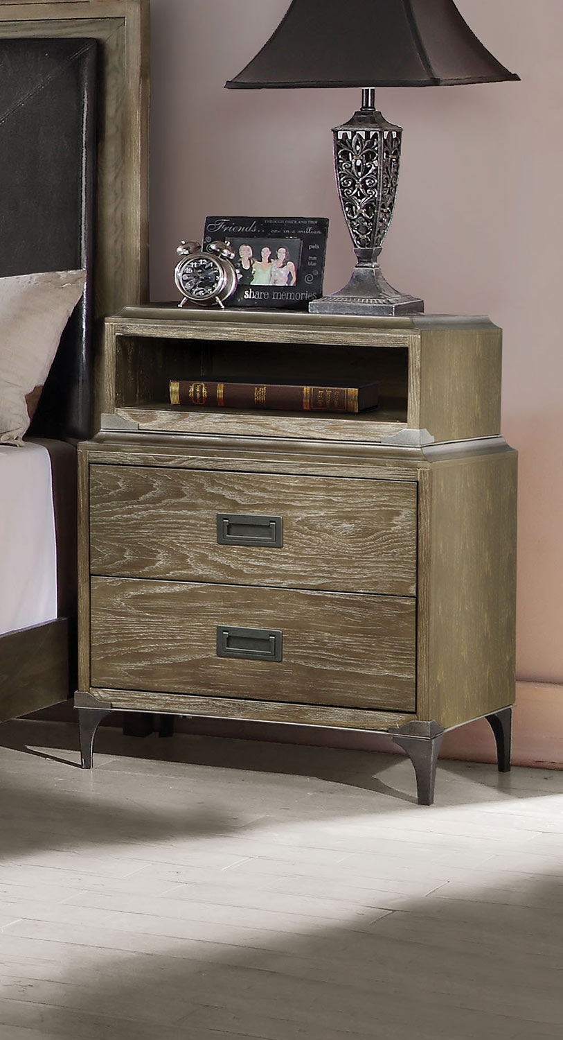 Acme Athouman Nightstand with USB Charging Dock - Weathered Oak