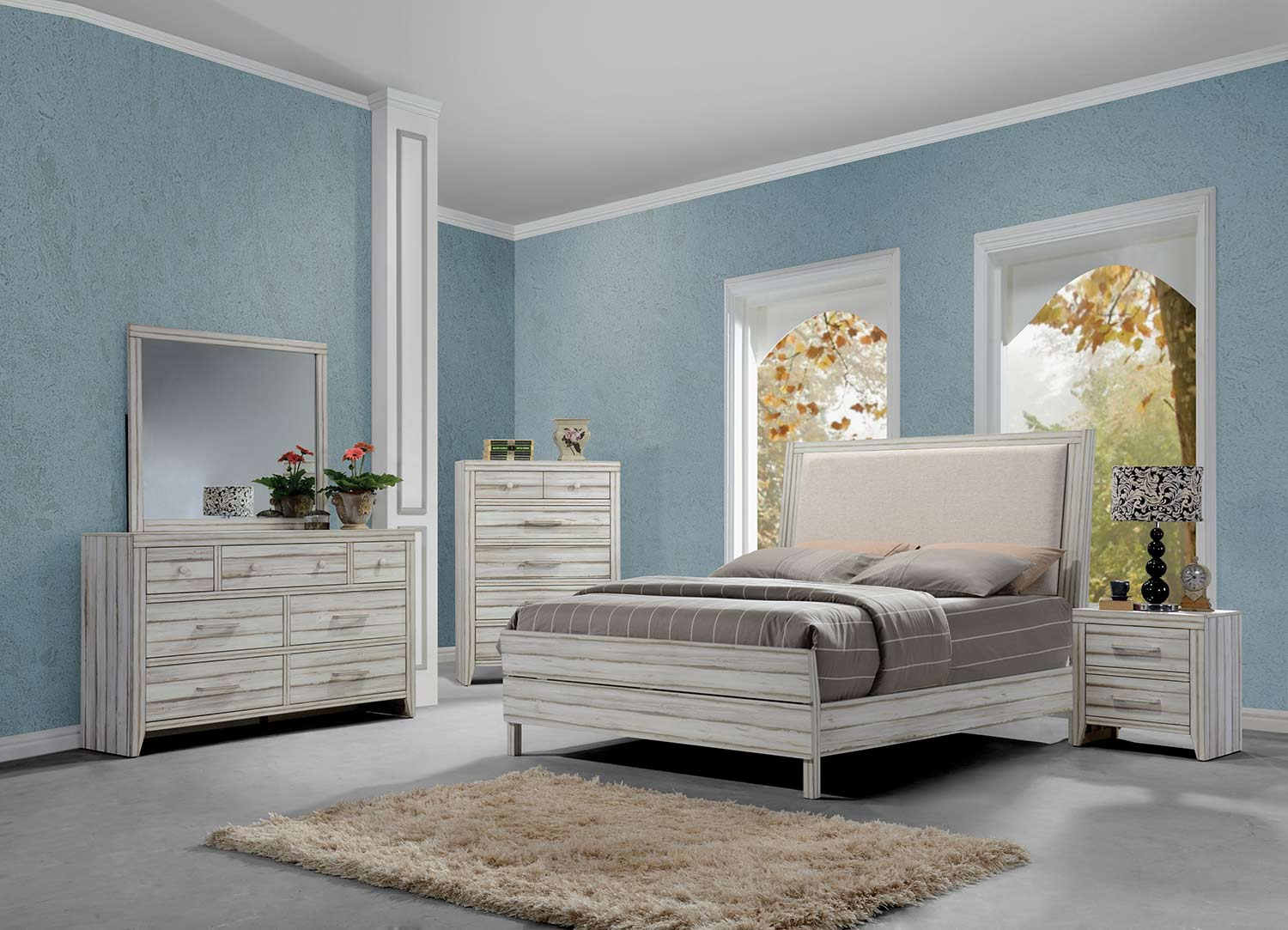 Acme Shayla Bedroom Set - Fabric/Antique White