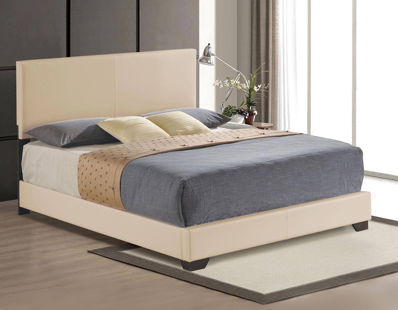Acme Ireland III Panel Bed - Beige Vinyl
