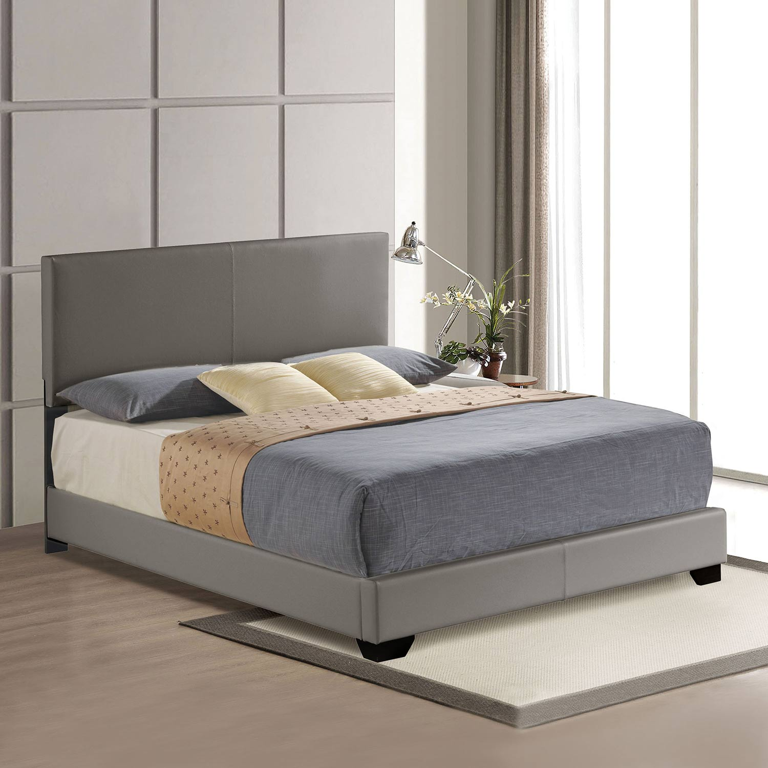 Acme Ireland III Panel Bed - Gray Vinyl