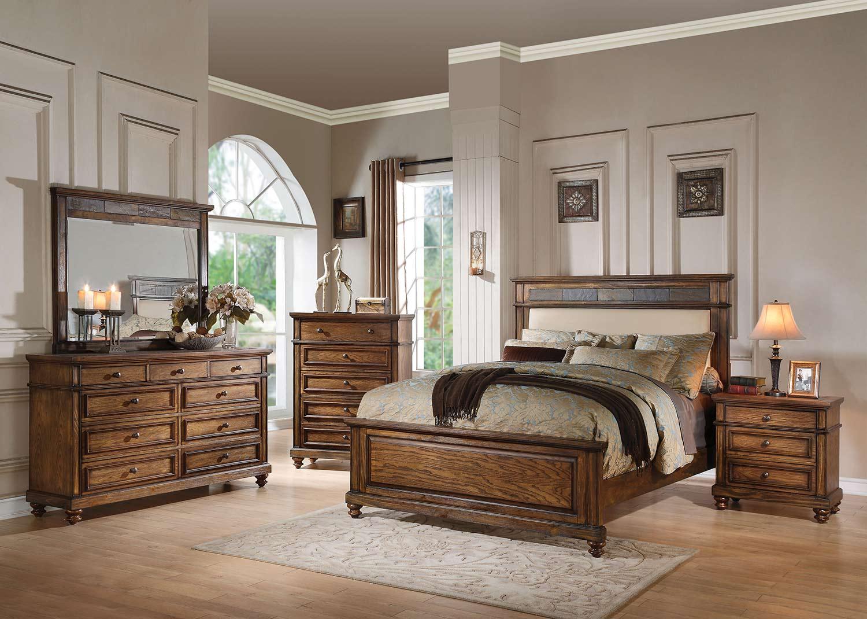 Acme Arielle Bedroom Set - Cream Linen/Slate/Oak
