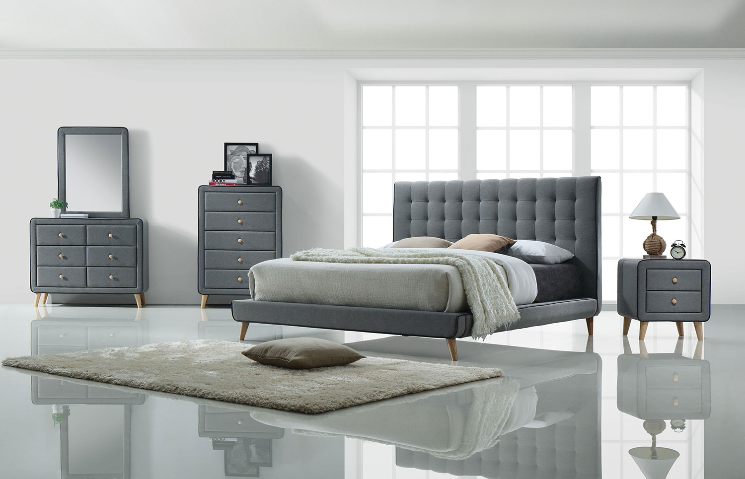 Acme Valda Bedroom Set - Light Gray Fabric